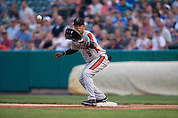 Aberdeen IronBirds first baseman Milton Ramos (9) waits to receive a throw during a game against the Tri-City ValleyCats on August 27, 2018 at Joseph L. Bruno Stadium in Troy, New York.  Aberdeen defeated Tri-City 11-5.  (Mike Janes/Four Seam Images)