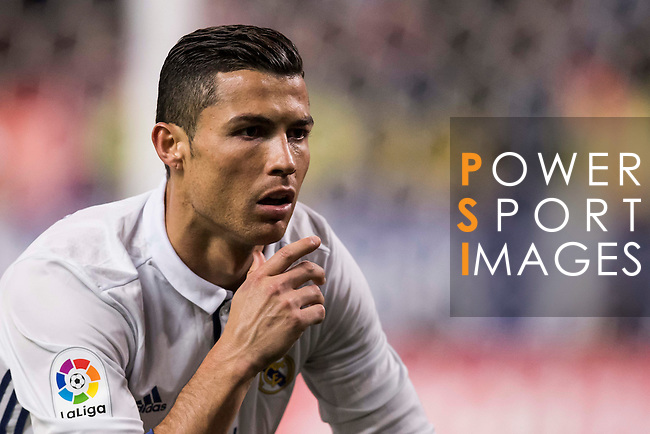 Cristiano Ronaldo of Real Madrid poses as he celebrates after scoring during their La Liga match between Atletico de Madrid and Real Madrid at the Vicente Calderón Stadium on 19 November 2016 in Madrid, Spain. Photo by Diego Gonzalez Souto / Power Sport Images