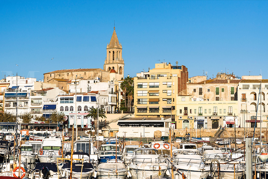 Overview of the harbor of Palamos, Spain.
