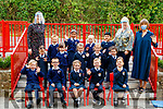 Junior infants at Caherlaheen National School with staff Ms Adrienne Heaslip, Ms Michelle O'Connor Mary Connolly.
