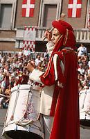 Musiker beim Palio in Asti, beim Palio das jedes Jahr am 3.Septembersonntag stattfindet, treten 14 Stadtviertel gegeneinander zum Pferderennen an, Piemont, Italien