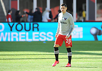WASHINGTON, DC - MARCH 07: Joseph Mora #28 of D.C. United during pre game warmups during a game between Inter Miami CF and D.C. United at Audi Field on March 07, 2020 in Washington, DC.