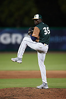 Charleston Boiled Peanuts relief pitcher Neraldo Catalina (35) in action against the Augusta GreenJackets at Joseph P. Riley, Jr. Park on June 26, 2021 in Charleston, South Carolina. (Brian Westerholt/Four Seam Images)