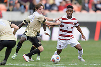 Houston, TX - Friday December 11, 2016: Hunter Bandy (20) of the Wake Forest Demon Deacons and Bryce Marion (7) of the Stanford Cardinal battle for control of a loose ball at the NCAA Men's Soccer Finals at BBVA Compass Stadium in Houston Texas.