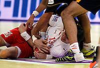 Spellerberg Bo of Denmark figts for the ball during men`s EHF EURO 2012 championship semifinal handball game between Denmark and Spain in Belgrade, Serbia, Friday, January 27, 2011.  (photo: Pedja Milosavljevic / thepedja@gmail.com / +381641260959)
