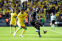 19th September  2021; Angers, Pays de la Loire, France; French League 1 football Angers versus Nantes;   TRAORE Ismael  of Angers  shileds the ball from Ludovic BLAS of Nantes