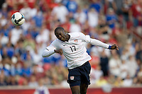 Jozy Altidore of the USA scores the winning goal on a head ball against El Salvador during a World Cup Qualifying match at Rio Tinto Stadium, in Sandy, Utah, Friday, September 5, 2009.  The USA won 2-1.