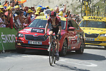 """Geraint Thomas (WAL) Team Ineos loses 30"""" to the race leader as he climbs to the finish line in 8th place atop the Col du Tourmalet near the end of Stage 14 of the 2019 Tour de France running 117.5km from Tarbes to Tourmalet Bareges, France. 20th July 2019.<br /> Picture: Colin Flockton 