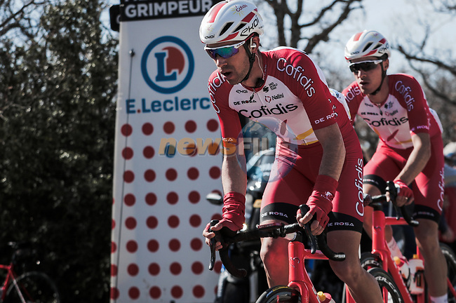 Nicolas Edet and Anthony Perez (FRA) Cofidis in the breakaway climb Col de Murs during Stage 6 of the 78th edition of Paris-Nice 2020, running 161.5km from Sorgues to Apt, France. 13th March 2020.<br /> Picture: ASO/Fabien Boukla | Cyclefile<br /> All photos usage must carry mandatory copyright credit (© Cyclefile | ASO/Fabien Boukla)