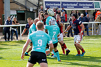Players look on as the line out ball runs free during the Championship Cup match between London Scottish Football Club and Nottingham Rugby at Richmond Athletic Ground, Richmond, United Kingdom on 28 September 2019. Photo by Carlton Myrie / PRiME Media Images