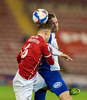 17th February 2021, Oakwell Stadium, Barnsley, Yorkshire, England; English Football League Championship Football, Barnsley FC versus Blackburn Rovers; Mads Juel Andersen of Barnsley challenges for a header in the first half