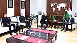 Palestinian Prime Minister Mohammed Ishtayeh meets with Vatican's representative to Palestine, in the West Bank city of Ramallah, on October 13, 2021. Photo by Prime Minister Office