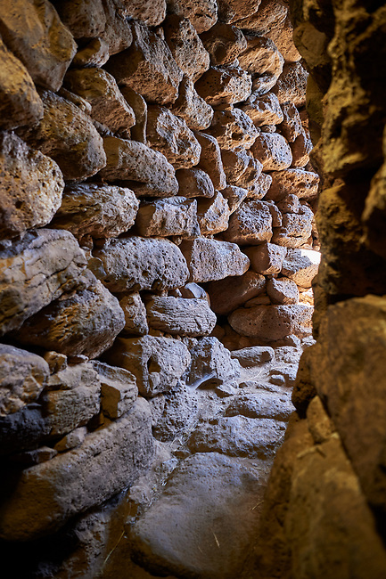 Picture and image of the prehistoric p[assageway inside the walls  of Nuraghe Losa, archaeological site, Bronze age (14 -9 th century BC), Abbasanta, Southern Sardinia.