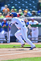 Tennessee Smokies shortstop Zack Short (4) runs to first base during a game against the Jackson Generals at Smokies Stadium on April 11, 2018 in Kodak, Tennessee. The Generals defeated the Smokies 6-4. (Tony Farlow/Four Seam Images)