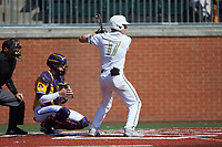 Todd Elwood (17) of the Charlotte 49ers at bat against the East Carolina Pirates at Hayes Stadium on March 8, 2020 in Charlotte, North Carolina. The Pirates defeated the 49ers 4-1. (Brian Westerholt/Four Seam Images)