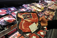 Banco della carne.Meat counter.Supermercato Coop.