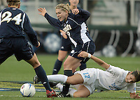 ND's Jen Buczkowski is slide tackled by UNC's Yael Averbuch. UNC-Chapel Hill defeated Notre Dame 2-1 in the 2006 Women's College Cup at SAS Stadium in Cary, NC.