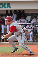 Alex Dickerson #12 of the University of Indiana Hoosiers at bat during a game against the Virginia Tech Hokies at Watson Stadium at Vrooman Field in Conway, South Carolina on February 18, 2011. Photo by Robert Gurganus/Four Seam Images