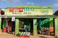 KENYA, Kisumu County, Kaimosi, shops along street sell food and goods / KENIA, Kaimosi, Laeden, Verkauf von Lebensmittel und Waren