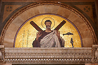 Saint Andreas (Andrew ) mosaic above the door of Amalfi Cathedral, Italy