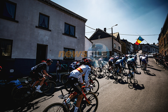 The peloton climb the Cote de Saint Roch in Houffalize during the 107th edition of Liege-Bastogne-Liege 2021, running 259.1km from Liege to Liege, Belgium. 25th April 2021.  <br /> Picture: A.S.O./Aurelien Vialatte | Cyclefile<br /> <br /> All photos usage must carry mandatory copyright credit (© Cyclefile | A.S.O./Aurelien Vialatte)