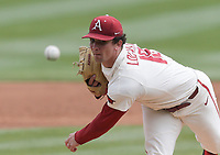 Arkansas Lael Lockhart (18) throws a pitch, Saturday, April 3, 2021 during the second inning of a baseball game at Baum-Walker Stadium in Fayetteville. Check out nwaonline.com/210404Daily/ for today's photo gallery. <br /> (NWA Democrat-Gazette/Charlie Kaijo)