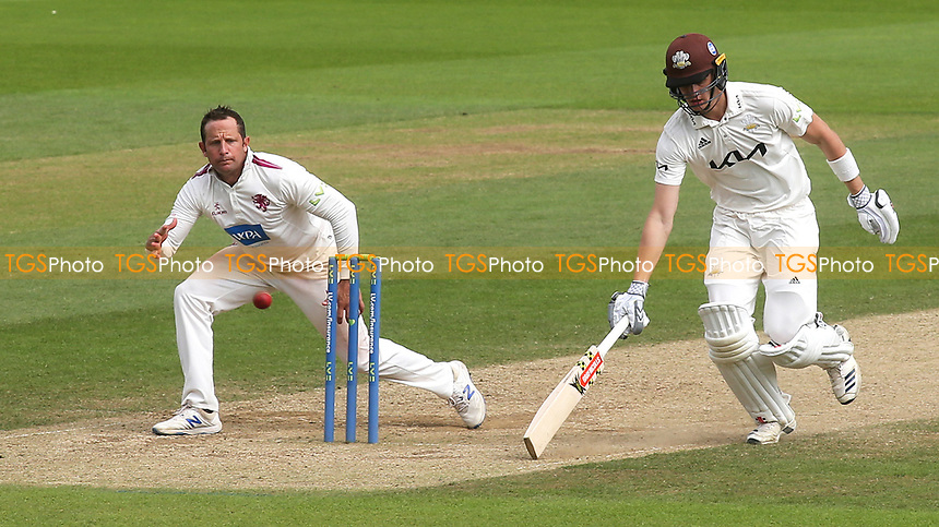 Surrey batsman, Jamie Smith takes a quick single as Roelof Van Der Merwe of Somerset gets ready to catch the ball during Surrey CCC vs Somerset CCC, LV Insurance County Championship Group 2 Cricket at the Kia Oval on 13th July 2021