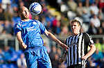 St Johnstone v St Mirren...11.09.10  .Sam Parkin controls the ball ahead of Sean Lynch.Picture by Graeme Hart..Copyright Perthshire Picture Agency.Tel: 01738 623350  Mobile: 07990 594431