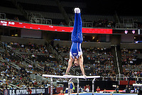 Danell Leyva of Hilton HHonors competes on Parallel Bars during the 2012 US Olympic Trials competition at HP Pavilion in San Jose, California on June 28th, 2012.