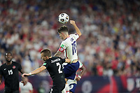 NASHVILLE, TN - SEPTEMBER 5: Christian Pulisic #10 of the United States heads a ball during a game between Canada and USMNT at Nissan Stadium on September 5, 2021 in Nashville, Tennessee.