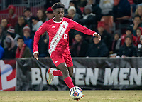 COLLEGE PARK, MD - NOVEMBER 15: Herbert Endeley #17 of Indiana on the attack during a game between Indiana University and University of Maryland at Ludwig Field on November 15, 2019 in College Park, Maryland.