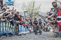 Peter Sagan (SVK/Bora-Hansgrohe)<br /> up the Oude Kwaremont for the 3rd & final time<br /> <br /> 101th Ronde Van Vlaanderen 2017 (1.UWT)<br /> 1day race: Antwerp › Oudenaarde - BEL (260km)