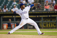 Round Rock Express pitcher Neftali Feliz (30) delivers a pitch to the plate against the Oklahoma City RedHawks during the Pacific Coast League baseball game on August 25, 2013 at the Dell Diamond in Round Rock, Texas. Round Rock defeated Oklahoma City 9-2. (Andrew Woolley/Four Seam Images)