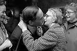 """""""Thorpe works for us."""" Jeremy Thorpe on the election campaign trail mid Devon constituency 1979 with his wife Marion. A  middle aged woman constituent plant a kiss."""