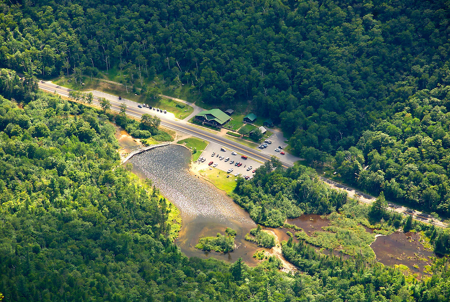 An airy look at the Willey House Site and Willey Pond located along Rt. 302 in Crawford Notch.