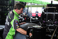 Apr. 29, 2012; Baytown, TX, USA: NHRA Del Worsham, crew chief for funny car driver Alexis DeJoria during the Spring Nationals at Royal Purple Raceway. Mandatory Credit: Mark J. Rebilas-