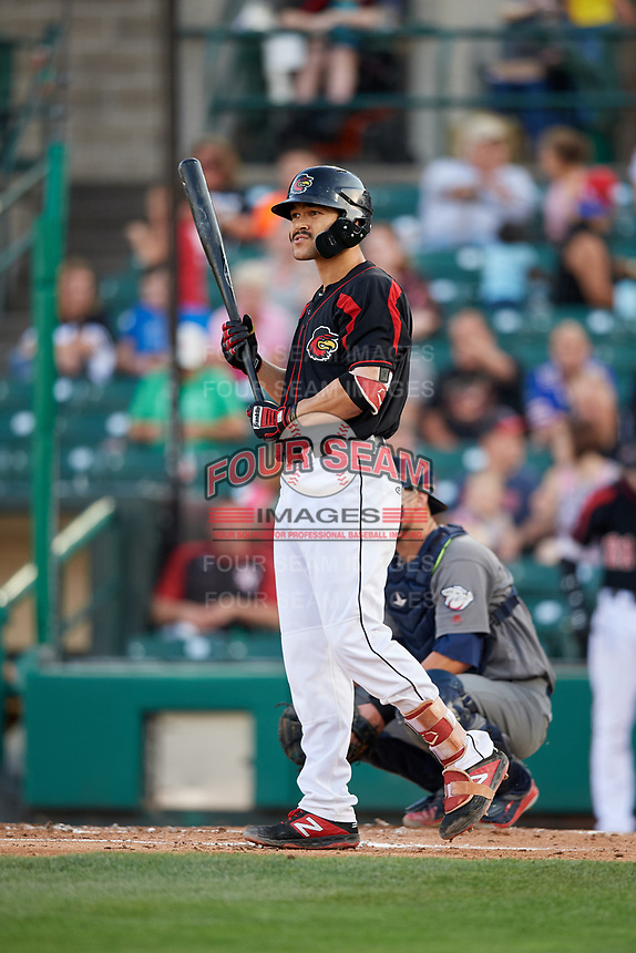 Rochester Red Wings first baseman Zander Wiel (12) at bat during a game against the Lehigh Valley IronPigs on September 1, 2018 at Frontier Field in Rochester, New York.  Lehigh Valley defeated Rochester 2-1.  (Mike Janes/Four Seam Images)