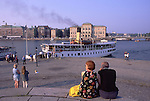 Europe, SWE, Sweden, Stockholm, Skeppsbrokkajen, Typical Steamer, Landing place, Tourists