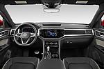 Stock photo of straight dashboard view of 2021 Volkswagen Atlas-Cross-Sport SEL-R-Line 5 Door SUV Dashboard
