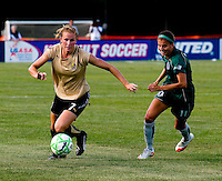 FC Gold Pride midfielder Leigh Ann Robinson (7) and Saint Louis Athletica forward Angie Woznuk (11) during a WPS match at Anheuser-Busch Soccer Park, in St. Louis, MO, July 26, 2009.  The match ended in a 1-1 tie.