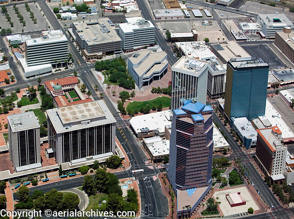 aerial photograph of downtown Tucson, Arizona, including the Main Library and the Pima County Superior Court