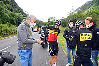 July 13th 2021, Saint-Gaudens, Haute-Garonne, France: VAN AERT Wout (BEL) of JUMBO-VISMA, riders change clothing during stage 16 of the 108th edition of the 2021 Tour de France cycling race, a stage of 169 kms between El Pas de la Casa and Saint-Gaudens.
