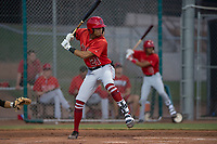 Los Angeles Angels first round draft pick, Jordyn Adams (21), makes his professional debut with the AZL Angels during an Arizona League game against the AZL Giants Black at the San Francisco Giants Baseball Complex on July 1, 2018 in Scottsdale, Arizona. AZL Giants Black defeated the AZL Angels 4-2. (Zachary Lucy/Four Seam Images)