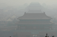 A view from the Pagado at the top of Jingshan Park in Bejing overlooking the Forebidden city on a clear day in the city, 21st February 2008. The city is shroued in smog and pollutants on what the official website dscribes as a moderately polluted day.