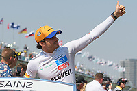 March 17, 2019: Carlos Sainz Jnr (ESP) #55 from the McLaren F1 team waves to the crowd during the drivers parade prior to the start of the 2019 Australian Formula One Grand Prix at Albert Park, Melbourne, Australia. Photo Sydney Low