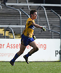 Cian O Dea of Clare celebrates his goal against Cork during their National Football League game at Cusack Park. Photograph by John Kelly.