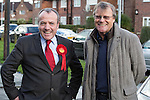 © Joel Goodman - 07973 332324 . . 07/02/2014 .  Manchester , UK . DAVID NEILSON (r) , who plays Roy Cropper in Coronation Street , meets Labour candidate Mike Kane (l) on the campaign trail at the Labour Party Campaign HQ at the Wythenshawe and Sale East by-election . Photo credit : Joel Goodman