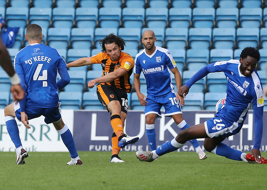 Hull City's George Honeyman with a first half shot<br /> <br /> Photographer Rob Newell/CameraSport<br /> <br /> The EFL Sky Bet League One - Gillingham v Hull City - Saturday September 12th 2020 - Priestfield Stadium - Gillingham<br /> <br /> World Copyright © 2020 CameraSport. All rights reserved. 43 Linden Ave. Countesthorpe. Leicester. England. LE8 5PG - Tel: +44 (0) 116 277 4147 - admin@camerasport.com - www.camerasport.com