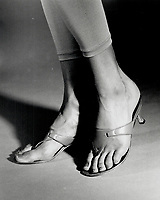 1992 FILE PHOTO - ARCHIVES -<br /> <br /> Manolo Blahnik leather thongs; $450<br /> <br /> 1992<br /> <br /> PHOTO :  Erin Comb - Toronto Star Archives - AQP