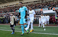Saturday 2nd March 2013<br /> Pictured: (L-R) Michel Vorm, Ashley Williams.<br /> Re: Barclays Premier Leaguel, Swansea  v Newcastle at the Liberty Stadium in Swansea.